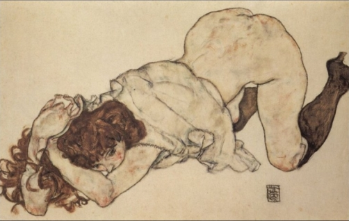 Egon Schele, Fanciulla in ginocchio (1917)