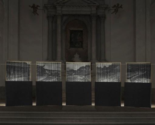 Alessandro Cardinale, Equilibrium (2015), cotone + legno, 5000 x 180 x 14cm