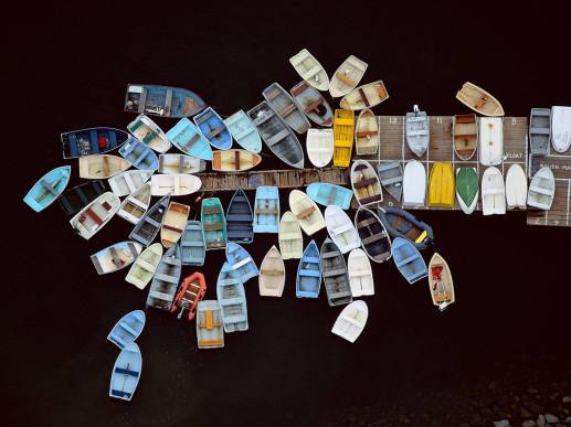 Alex S. MacLean, Dinghies Clustered Around Dock, Duxbury, MA, 1993