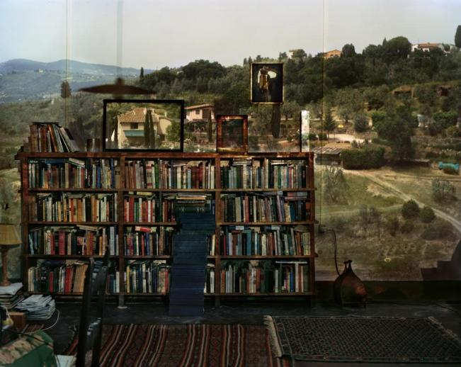 Abelardo Morell, Camera Obscura, View Outiside Florence With Bookcase (2009)