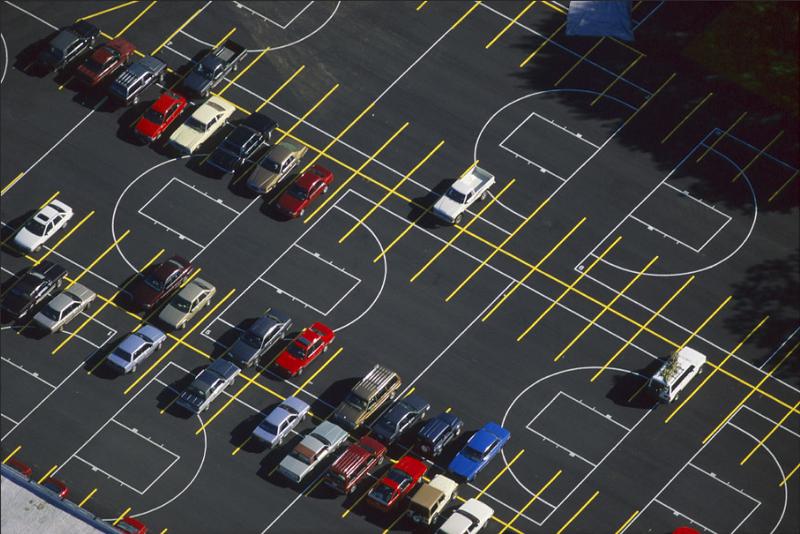 Alex S. MacLean, Parking Lot Markings Overlap Basketball Courts, Waltham, Massachusetts